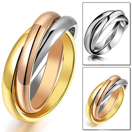 Wholesale Three Color Gold Ring - Three color gold rose gold silver men ring titanium steel N005