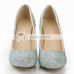 Wholesale Custom Made Silver Heels - 2015 Luxury Fashion New Multi-color Rhinestone Crystal Wedding Shoes Dancing Prom Women Shoes 10 CM High heel Leather Custom Made