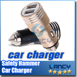 Wholesale Safety Sockets - Safety Hammer Universal Dual USB Car Charger with 5V   2.1A + 5V   1A USB Charging Socket for iphone 6S plus samsung Note 5