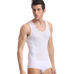 Wholesale Sexy Black Spandex Jumpsuit - Brand Men's Sexy Underwear Male Mesh Vest Bodysuits Jumpsuit black Mesh Bikini Underwear Sleepwear Jumpsuit Bodysuit Costume men Shapers