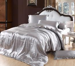 Deutschland Silber Bettbezug Bettwäsche-Sets grau Seide Satin Super King Size Queen Doppel-Spannbettlaken Bettdecken Steppdecke Doona Leinen 6pcs Versorgung