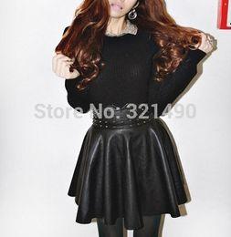 Wholesale Cheap Leather Skirts - 2014 new fashion women high waist black skirt short saia vintage PU leather rivet tutu skirts cheap clothes china FG1511