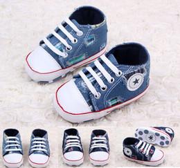 Wholesale Toddler Boys Denim Shoes - Lace-up denim hole toddler shoes!blue baby shoes,casual walker shoes,floor children shoes,infant canvas shoes,soft boy shoe.6pairs 12pcs.ZH