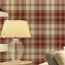 Wholesale British Countries - England grid wallpaper British American pastoral Scottish plaid non-woven wallpaper living room modern bedroom wallpaper