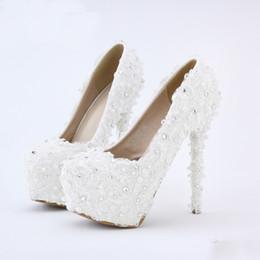 Alti talloni alla moda della piattaforma online-Scarpe da sposa bianche in pizzo bianche da sposa, scarpe da sposa, scarpe da damigella d'onore, scarpe da damigella d'onore