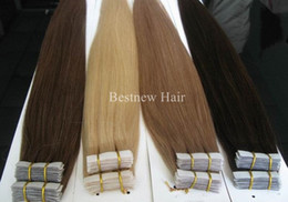 "Wholesale Hair Extensions Glue Tape - 16"" 18"" 20"" 22"" 24"" 100g 40pcs INDIAN REMY Hair PU Tape In Hair Glue Skin Weft Hair Extension Any Color is Accepted"