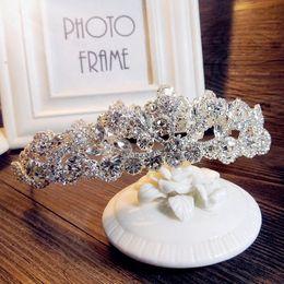 Wholesale Silver Queen Crown - European Bride Tiaras Baroque Luxury Rhinestone Crystal Crown 2016 The Queen Diamond Hair Princess Korean White Shining Hair Accessories