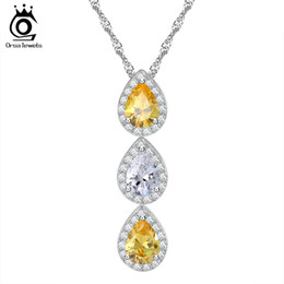 Wholesale Water Singapore - Water Drop Shaped Yellow and Clear Cubic Zircon Pendant Necklace AAA Grade Micro Paved CZ on Platinum Plated Jewelry ON98