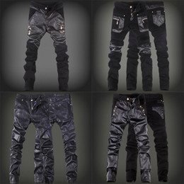 Wholesale Leather Panel Trousers - Spring Winter trousers Fashion Zippers Slim fit Men Jogger Pants PU Leather Black Skinny Motorcycle Pants Men Casual Pants Men's Clothing
