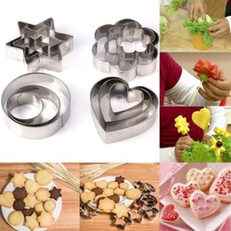 Wholesale New Moulds Stainless Steel - Wholesale- New 12 Pcs Set Fashion DIY Star Heart Flower Round Stainless Steel Pastry Baking Mould Cookie Cutter