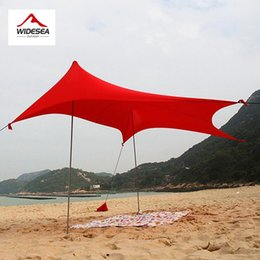 Wholesale Blue Awning - Wholesale- 2017 WIDESEA lycra beach sun shelter 5-8person camping awning beach gazebo sun protect with 2 tent poles 2.5kg sun canopy tarp