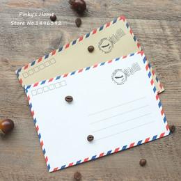 Wholesale Vintage Letter Paper Envelopes - Wholesale- 10pcs lot Vintage Paper Envelopes Kraft Airmail Envelopes for Postcard Letter Greeting Paper Storage Stationery Envelope Set