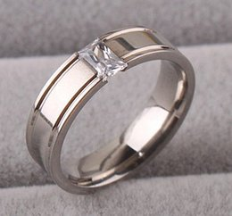 Wholesale Rings 11 Titanium - Titanium Stainless Steel Plain Ring CZ Size 7-11 Silver Wedding Men Women Gift 20pcs   lots FREE