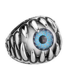 Wholesale Titanium Rings Blue Stones - BEIER 2016 Fashion Nonmainstream retro bracelet Titanium steel man alternative eye ring blue eyes ring free shipping