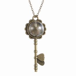 "Wholesale Glass Locket Key Chains - Fashion Vintage Retro Jewelry Necklaces Dried Dandelion Seed Glass Locket Key Pendant Necklace with 22"" Rolo Chain 156N37"