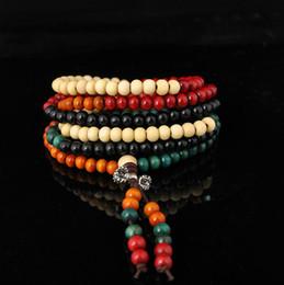 Wholesale Wood Rosary Beads - Wholesale Vintage Fashion 108PCS 6mm Sandalwood Charm Wrist Jewelry Mala Bodhi Buddha Bead Bracelet Strands Unique Model Rosary Prayer WI36