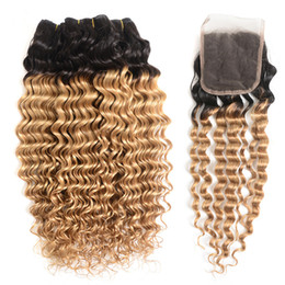 Wholesale Strawberry Blonde Weave - 8A Honey Blonde Deep Wave Ombre Hair Bundles with Closure T1B 27 Strawberry Blonde Ombre Curly Indian Hair Weaves with Closure