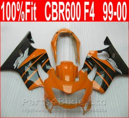 Wholesale 99 cbr f4 fairings - Perfect Body parts Injection molding for Honda Orange black custom fairings CBR 600 F4 1999 2000 fairing kit CBR600 F4 99 00 XBIS