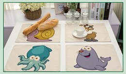 Wholesale Table Mats Design - Cute cartoon animals series printed placemat Cotton and linen cloth art colorful design table mat Family children tableware decorate
