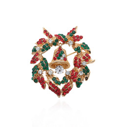Christmas Flower Jewelry Rhinestone Bell Brooch Pins Elegant Red Flowers Brooches  Pins Women Xmas New Year Gift Broches 9c348e2d4b6f