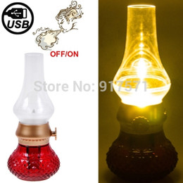 Wholesale Classical Table Lamps - Wholesale-Novelty Creative Gift Vintage USB Rechargeable Classic Blow LED Lamp Blowing Control Kerosene Table Candle Lamp Table Lights