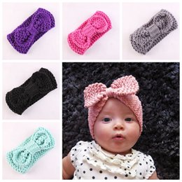 Wholesale Turban Twist Headwrap - new Boutique Xmas Newborn knit elastic Head Wrap knitting wool bow hair band baby baptized Headband Turban Twist knotted Headwrap FD6579