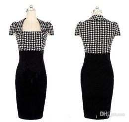 Projetos do vestido do escritório para mulheres on-line-Atacado-2015 Novos Designs Mais Recentes Bodycon Vestidos Mulheres Escritório Vestido De Verão Das Senhoras Xadrez Na Altura Do Joelho Lápis Vestido Plus Size Roupas Femininas