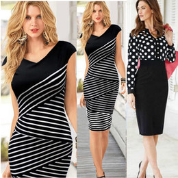 Wholesale Knee High Bows - Fashion Women Casual Dress Striped Black Polka Dot Chiffon Blouse High Waist Pencil Dresses for OL Work Suits Slim Elegant Lace M184 0710
