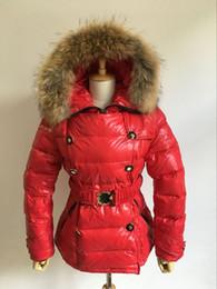 Wholesale Duvet Button - Winter Down Parkas Women High Quality Real Fur Collar Down Jacket Puffer Duck Duvet Warm Red Slim Waist Ladies Parka