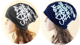 Wholesale Korean Style Beanies - 2016 Korean Scrawl Hat For Girl Boy Hip Hop Style Beanie Letters Printed His-and-hers Skull Caps