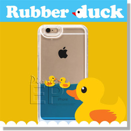 Wholesale Duck Float - For iPhone 6 Case ,Rubber Duck Hard Case Creative Design Liquid Floating Stylish Protective For iPhone 6 Plus Samsung Note 5 S6 S6 edge