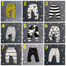 Wholesale Girls Summer Tights - New Baby INS Leggings boys girls cotton spring autumn trousers patchwork pattern long Pants kids 9styles for choose cotton pants