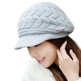 Wholesale Knit Visor Hat Women - Wholesale-Best seller New Thick Winter Women Knitting With Loose Cap Warm Ski Cap Hat for Women outdoor travel