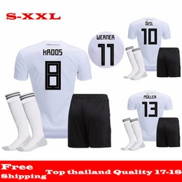 Wholesale Uniform Germany - AAA quality 2018 Deutschlan Home Uniform Jersey Germany Soccer Jerseys Sets SCHWEINSTEIGER HUMMELS OZIL Muller Kroos Football Kits+Socks