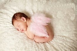 Wholesale Chemical Green Stick - 1pc Infant Baby White red pink green Feathered Angel Wings Couture Newborn Babies Christening little fairytale costume Photo Prop YM6118