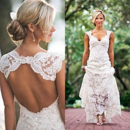 Wholesale Wedding Bride White Empire Gown - Vintage Lace Wedding Dresses Sexy Open Back Bridal Gowns Bohemian Cap Sleeves Backless Garden Party Dress for Brides Plus Size