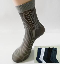 Wholesale Wholesale Printed Stockings - Wholesale-Free Shipping 40pcs=20pairs lot Man's Fashion Socks, half stocking from factory, stripe style, men silk sox soks