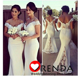 Wholesale Royal Groups - The Most Lovely Bridesmaid Dress Light White Chiffon Mermaid Off the Shoulder Lace Appliques Decorated Wedding Group 2015 New Arrival Dhyz