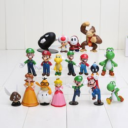 Wholesale luigi figure - High Quality PVC Super Mario Bros Luigi Action Figures 18pcs set youshi mario Gift OPP retail