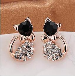 boucles d'oreilles minimales Promotion Minimal mix styles $ 5 Fashion 2013 Gold Small Lovely Jewellery Full Rhinestone Cat Stud Earrings C3R6 Livraison gratuite