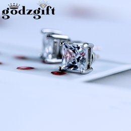 Wholesale Ear Punk - Godzgift Punk Copper Tone Clear Cubic Zirconia Square Not Magnetic Stud Earrings For Womens Cz Stone Ear Studs Jewelry JE0085