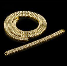 gold-diamant-tennis-armbänder Rabatt Whosales_3 Reihe simuliert Diamant Bling Tennis Kette Halskette und 8-Zoll-Armband Set Herren Gold Silber überzogene Iced Out Hip Hop Schmuck