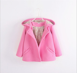 Wholesale Baby Double Breasted Coats - Baby Girls Double-breasted Autumn Winter Coat Outwear Kids Pure Color Hooded Coats Fashion Girl Clothing Children Clothes Girls Cotton Coat
