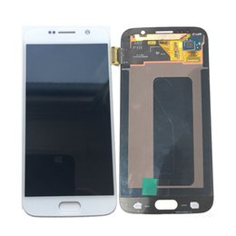 galaxy s6 lcd blanco Rebajas Super AMOLED Pantalla LCD Digitalizador de Pantalla Táctil Para Samsung Galaxy S6 G920 G920F G9200 Negro Oro Blanco Con Vidrio Templado DHL logística
