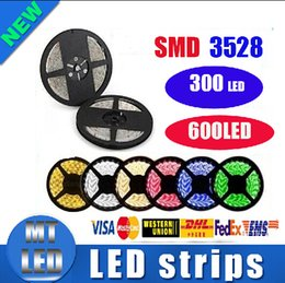 Wholesale Led Strips Green - Horrifying Price 3528 SMD Waterproof 5M 300 600 Leds flexible led strips light DC 12V warm cool white red green blue