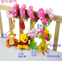 Wholesale Activity Spiral - (7 pieces lot)multifunction baby Stroller Hanging rattles bed around Spiral Activity Plush musical toy teether safety mirror