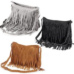 Wholesale Large Suede Handbag - 2015 Fashion Celebrity Fringe Tassel Suede Shoulder Bag women's fashion handbag tassel fringe designed Satchel bags Cross Body