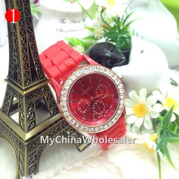 Wholesale Geneva White Rose Gold Watch - 14 colours New Shadow Rose-Gold Colored Style Geneva Rhinestone Watch Rubber Crystal Fashion Men Women Silicone Quartz Watches