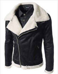 Wholesale Cheap Winter Leather Jackets - Fall-2015 Wholesale Cheap! Quality Winter Coats & Jackets Men's fashion oblique zipper lamb collar PU, mens leather jackets and coats