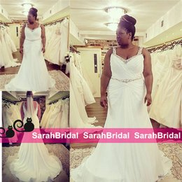 Wholesale Simple Sexy Dresses For Sale - 2016 Plus Size Wedding Dresses for Brides with Curves Sale Cheap Custom Made Curvy Bridal Gowns Sheer Straps Beaded Waist Vestidos De Novia